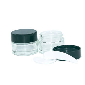 10pcs 5g 10g 20g 30g 50g Clear Glass Cream Jars Black Cap Salves Makeup Pots Skin Care Eye Face Cream Lotion Cosmetic Bottles 12pcs 20g amber glass cream jars cosmetic packaging with lid black plastic caps