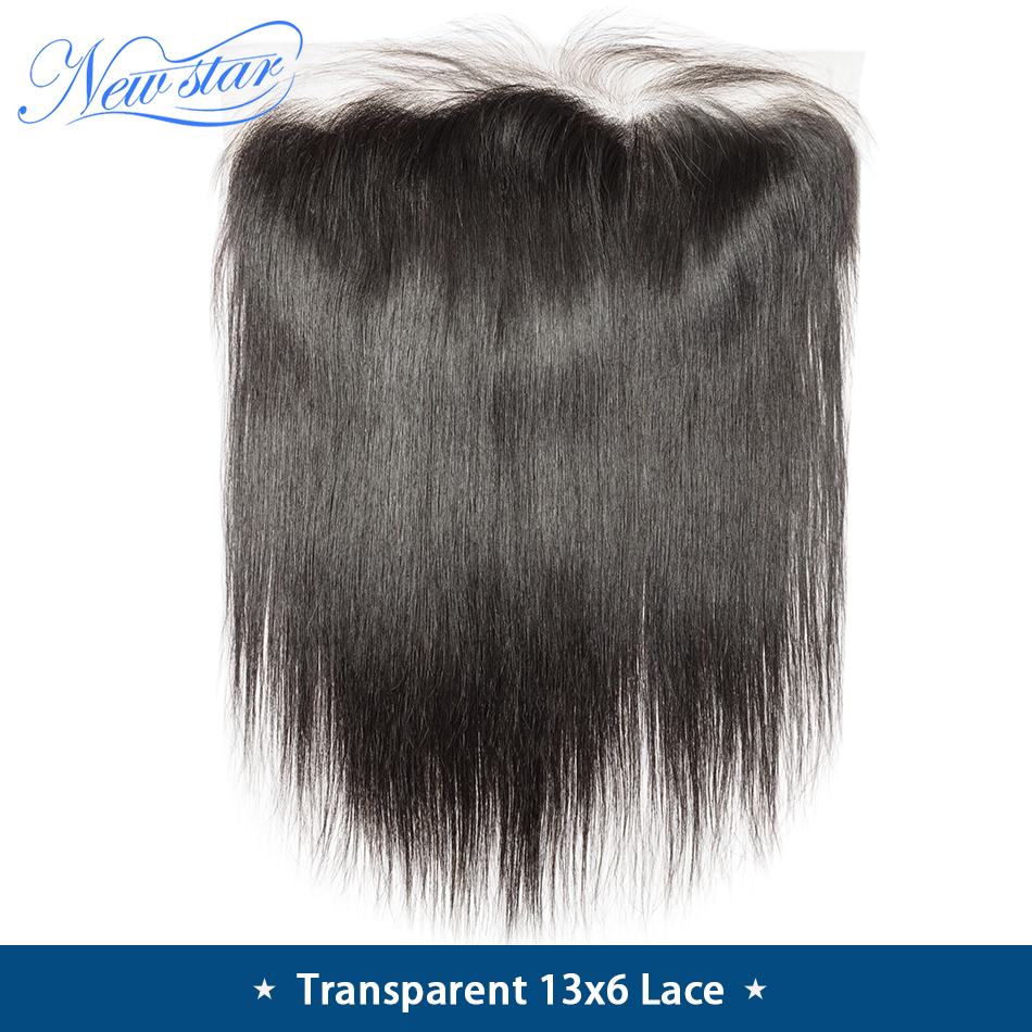 Closure Lace-Frontal Transparent 13x6 Hair Virgin Straight Pre-Plucked Brazilian New