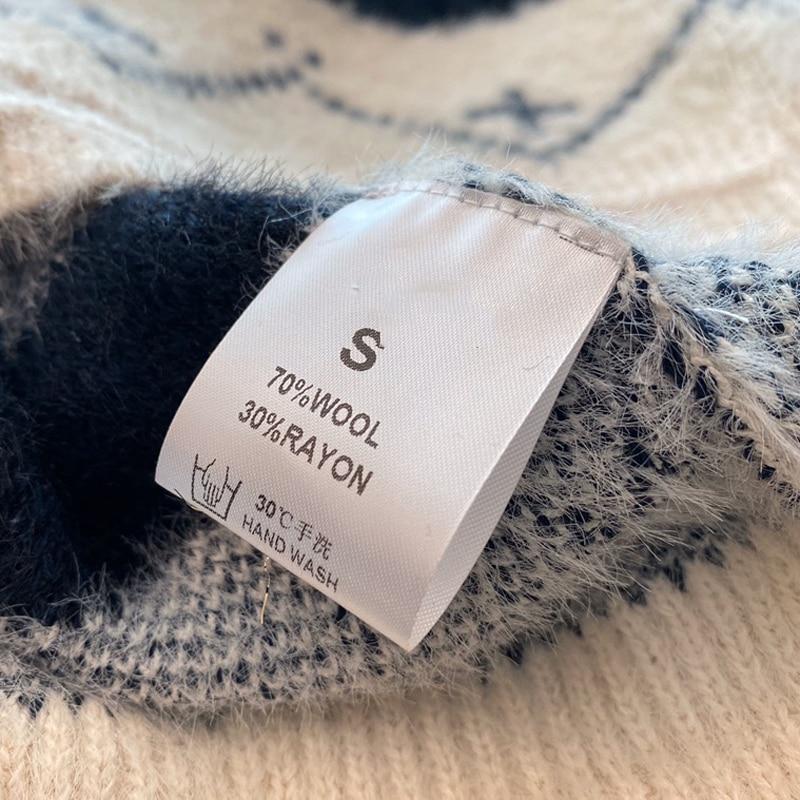 Inverno Con Scollo A V Maglione Allentato delle Donne di Spessore Maglione Di Natale Pullover casual Maglione Lungo Del Manicotto - 4