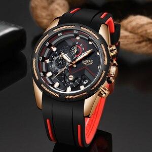 Image 3 - LIGE 패션 남성 시계 톱 브랜드 럭셔리 실리콘 스포츠 시계 남자 석영 날짜 시계 방수 손목 시계 Relogio Masculino