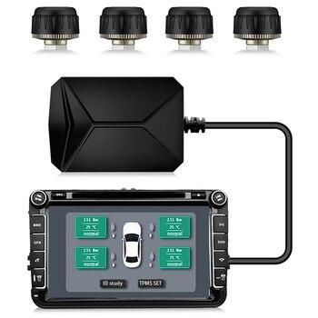 4 Sensors USB Android TPMS Car Tire Pressure Monitoring System Display Navigation Tyre Pressure Alarm