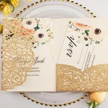 50X Роскошные блестящие золотые свадебные приглашения конверт персонализированные вставки Роза лазерная резка карман складной пригласите