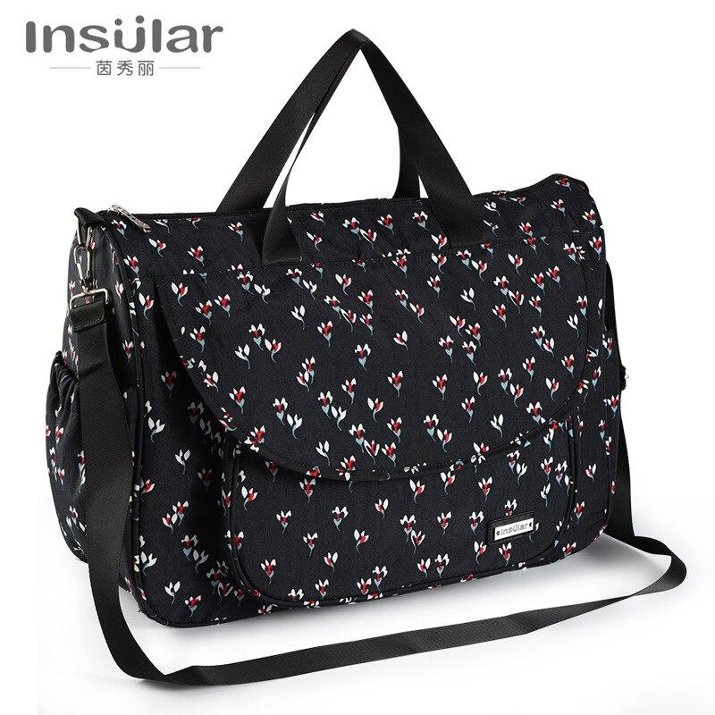 Insular Multi-functional Waterproof Diaper Bag Shoulder Hand MOTHER'S Bag Diaper Bag Mom Bag Cross Border