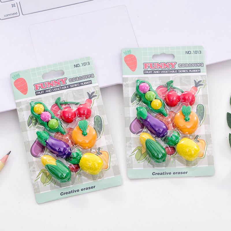 1013 Creative Cute Fruit & Vegetable Rubber Eraser Set Students Rubber Stationery Gift Wholesale Manufacturers