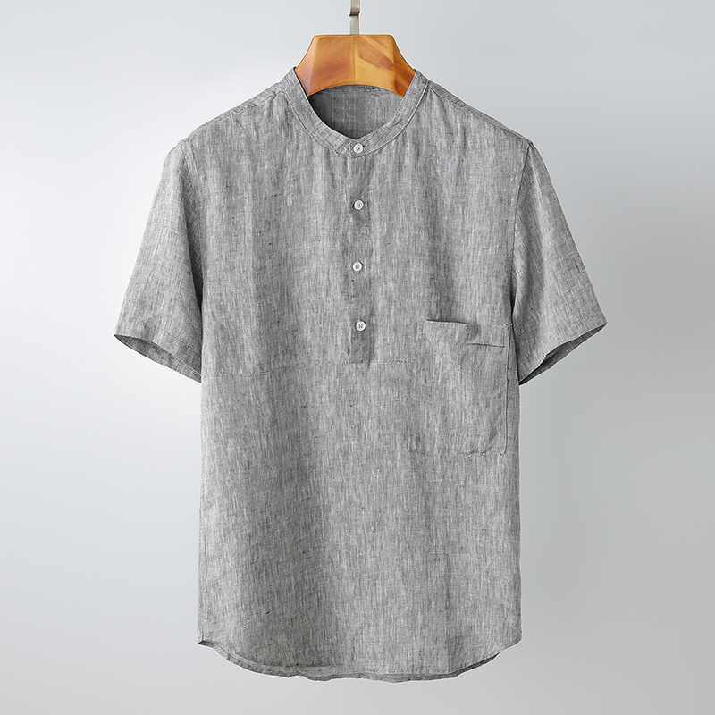 100%Linen Short Sleeve Shirts Men 2020 Summer Stand Collar Solid Gray Pocket Decoration Casual Pullover Shirt