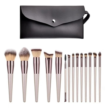 Professional Makeup Brushes set with case Gold Wholesale MakeUp Brushes PU Foundation custom Makeup Brush kit in private label
