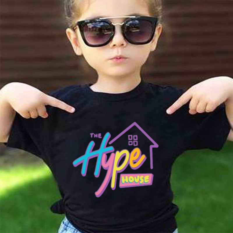 2020 The Hype House Tshirt Girls Aesthetic Summer Short Sleeve Tee Tops Children's Baby Korean Clothes White Funny T Shirts Kids