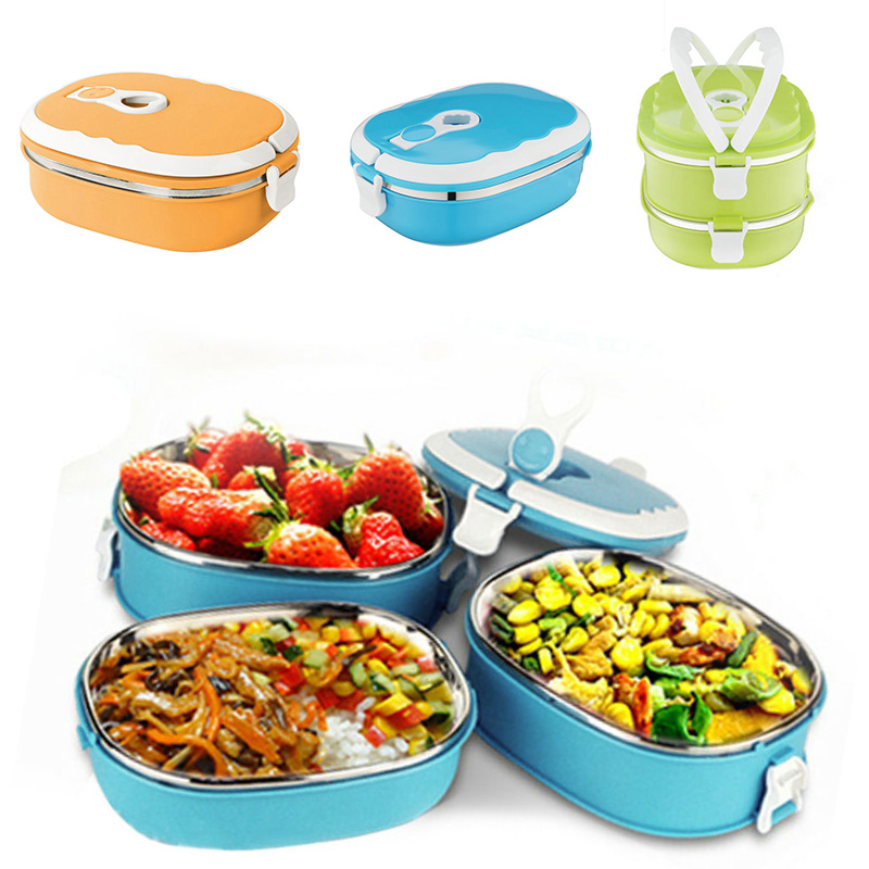 PP+304 Stainless Steel Portable <font><b>Food</b></font> Warmer School Students <font><b>Lunch</b></font> <font><b>Box</b></font> Case Thermal Insulated <font><b>Container</b></font> image