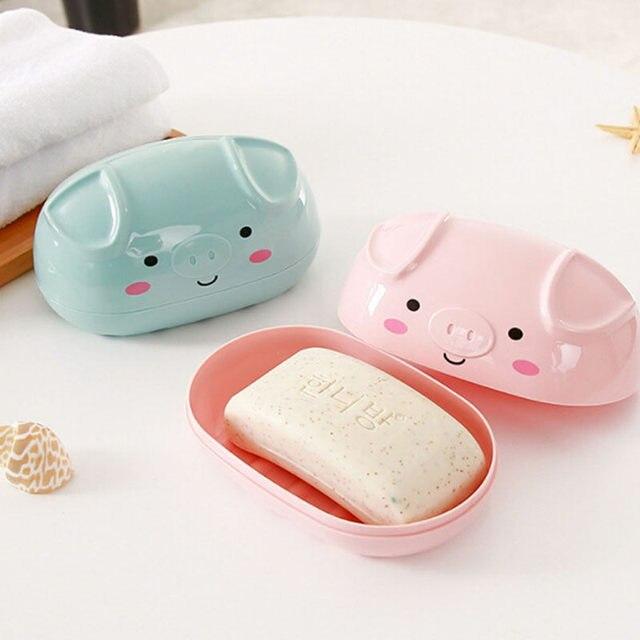 Boîte à savon en forme de cochon | De dessin animé créatif boîte à savon en plastique de couleur unie en forme de cochon, salle de bains, Double vidange petite assiette en plastique, salle de bain, boîte à savon