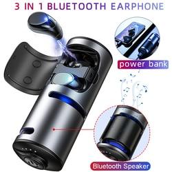 3 IN 1 TWS Bluetooth Earphone 5.0 Multi-function Touch Wireless Headset Sport Portable Headphone Bluetooth Speaker Power Bank