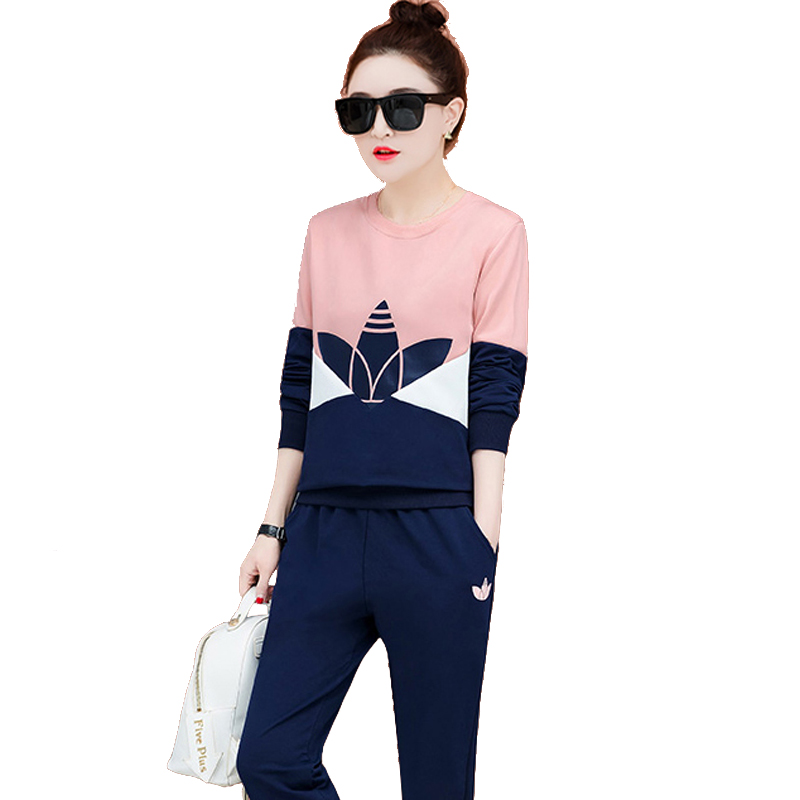 Pink Tracksuit for Women Outfits Sportswear Co-ord Set matching 2 Piece Clothing Fahion Winter Autumn Print Pink Top Pant Suits 47
