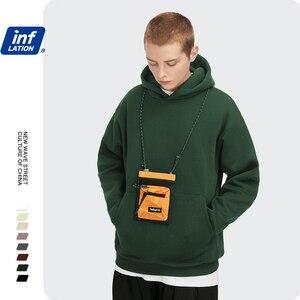 Image 4 - INFLATION Mens Comfy Pure Hoodies 2020 Autumn Fleece Oversized Hooded Sweatshirt Men Hip Hop Hoodie For Men Classic Hoody 169W