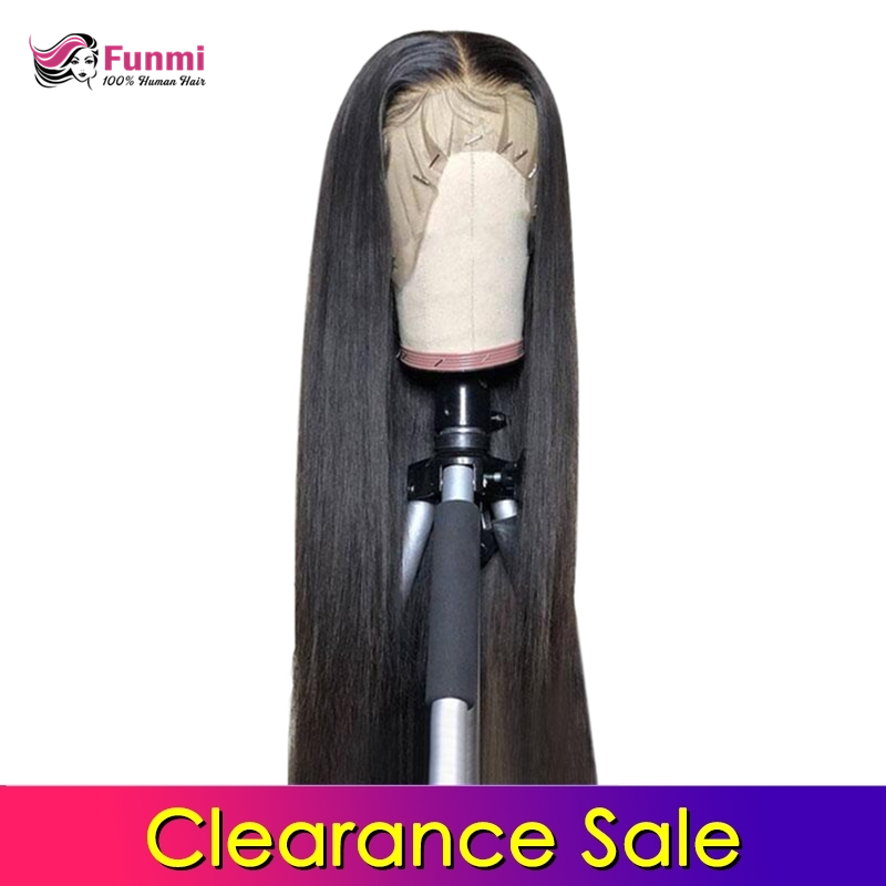 Clearance Sale Funmi 4x4 Lace Closure Wigs Human Hair Indian Straight Lace Wigs For Black Women Pre Plucked With Baby Hair Funmi