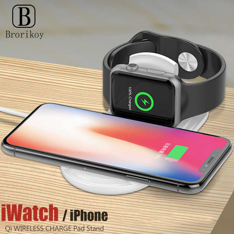 Qi Wireless Charger Dock for Apple Watch iWatch Series 1 2 3 10W Wireless Fast Charging Pad for iPhone 8 11 X Xs Pro Max XR