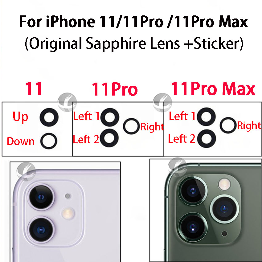 100% Original New Sapphire Lens For IPhone 11 Pro Max 11Pro 11Max 11promax Back Camera Lens With 3M Adhesive