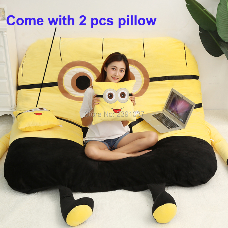 Lovely Cute Giant Spongebob Plush Sofa Bed For Kids Big Size Cartoon Totoro Bed For Adults Totoro Warm Tatami Bed Mattress