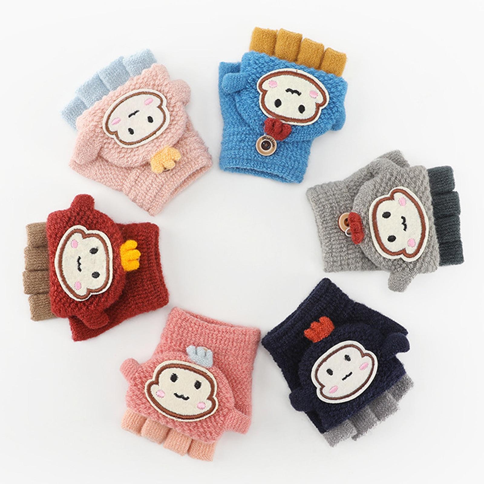 Зимние вязаные детские перчатки От 1 до 12 лет, теплые мягкие носки из кроличьей шерсти с рисунком перчатки детские митенки для маленьких мал...