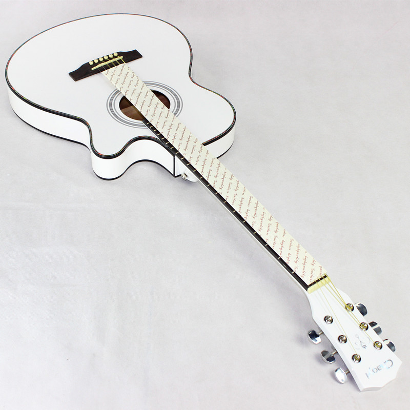 40-Inch Folk Guitar Wood Guitar Ultra-Thin Barrel Body Jita White BOY 'S And GIRL 'S Guitar Wholesale