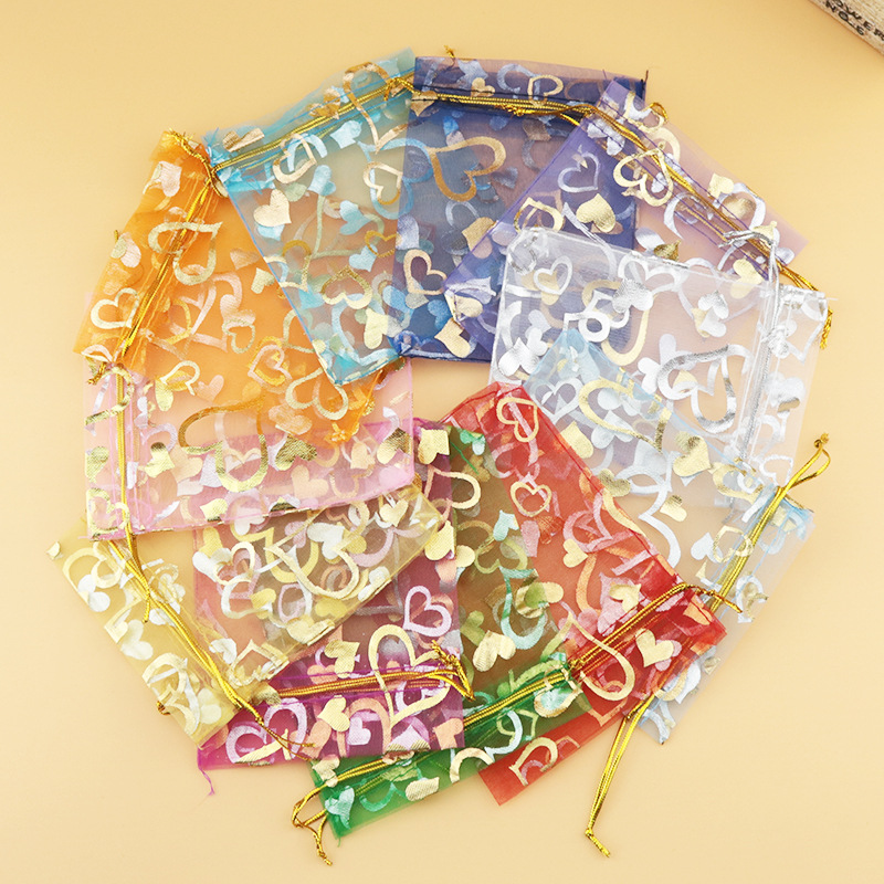 10pcs Delicate Organza Bags Heart Printing Bags Golden Strings Colorful Choose Jewelry Storage 7*9cm/10*12cm/11*16cm/13*18cmsize
