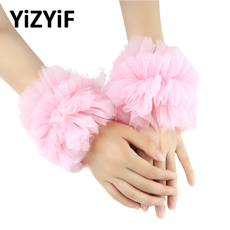 Wedding Wrist Cuffs Party Handmade Ruffled Tulle Bracelet False Sleeves Wrist Cuffs Photo Props Dancing Costume Accessories