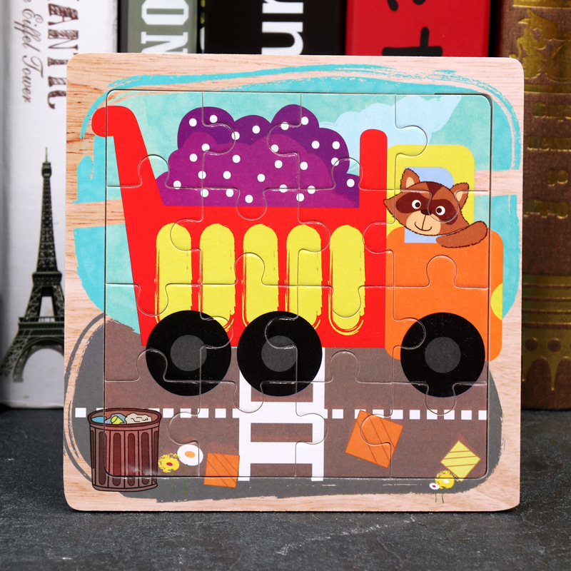 Wood Puzzles Children Adults Vehicle Puzzles Wooden Toys Learning Education Environmental Assemble Toy Educational Games 16