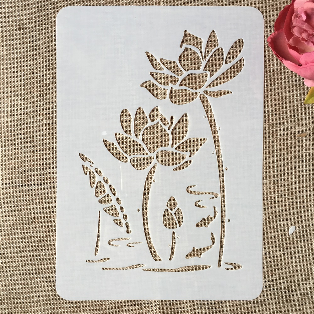 29cm A4 Lotus Flower Pond DIY Layering Stencils Wall Painting Scrapbook Coloring Embossing Album Decorative Template