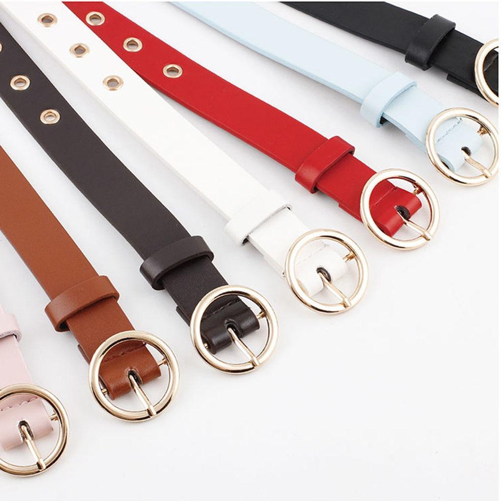 Women's And Men's Belt Leather Fashion Solid Color Women Man Unisex Vintage Leather Buckle Leisure Belt Trouser Accessories