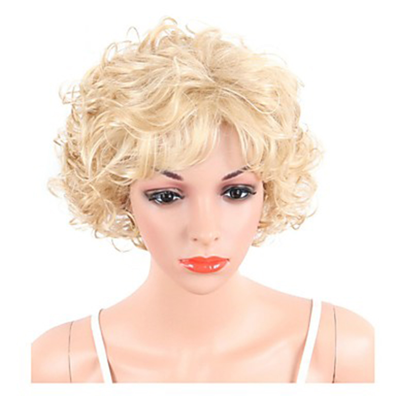 Image 2 - HAIRJOY  Synthetic Hair Women Blonde Short Curly  Wigs Free ShippingSynthetic None-Lace  Wigs   -