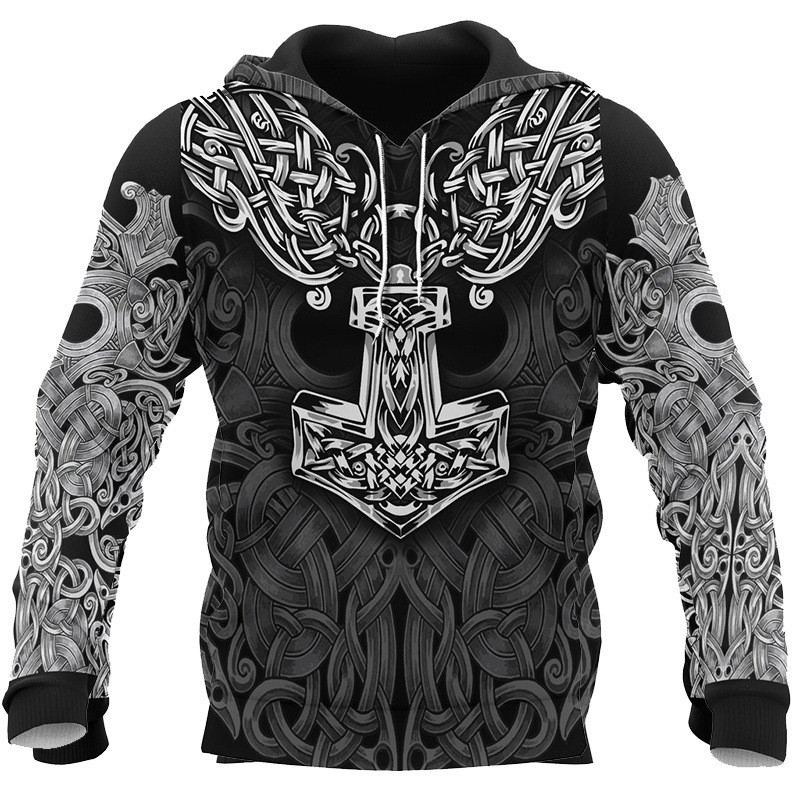 Viking Warrior Tattoo 3D Printed Men`s hoodies Unisex Fashion Pirate Cosplay Costume Hooded Sweatshirt Men Women Jacket Coat S-5XL (2)