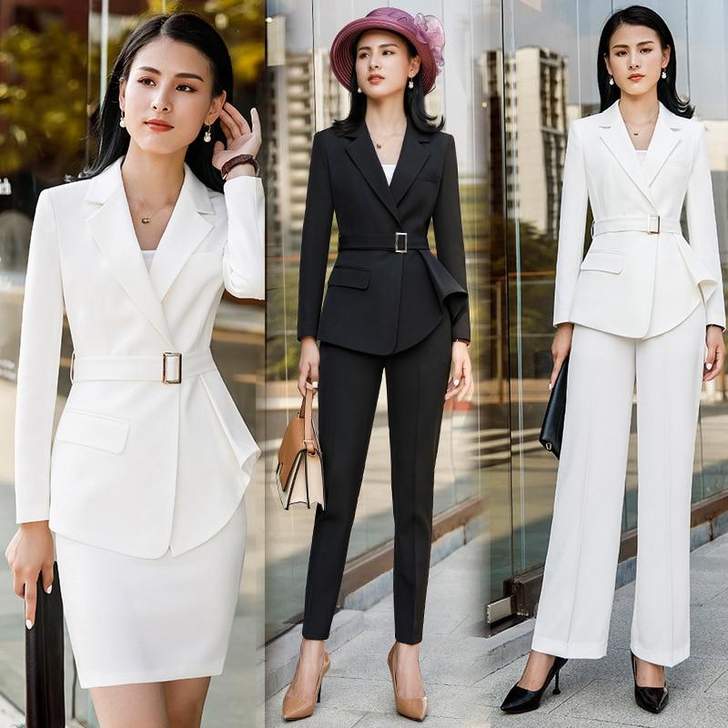 Female Elegant Formal Office Work Pant Suits 2 Pieces Set For Women's Suit Set Blazer And Trouser Pant Business Uniform Clothing