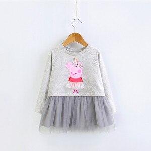 2021 со Свинкой Пеппой для малышей летнее платье для девочек с изображением Свинки Пеппы; Платье принцессы на день рождения, вечерние, платья из фатина для детей ясельного возраста одежда 3-8years