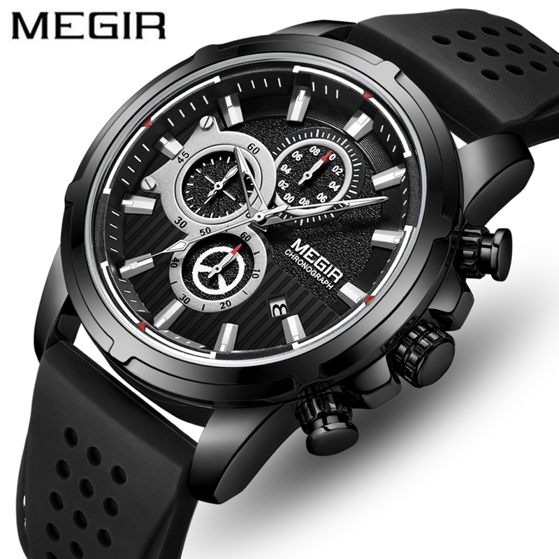 <font><b>MEGIR</b></font> Top Brand Men Fashion Black Silicone Waterproof Sport Quartz Watches Mens Luxury Business Wrist Watch Relogio Masculino image