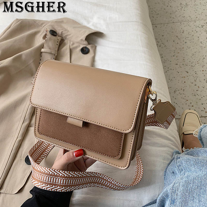 MSGHER Panelled Flap Women Shoulder Bag Autumn French Vintage Niche Style Joker Frosted Gentle Color Small Girl Bag WB3049