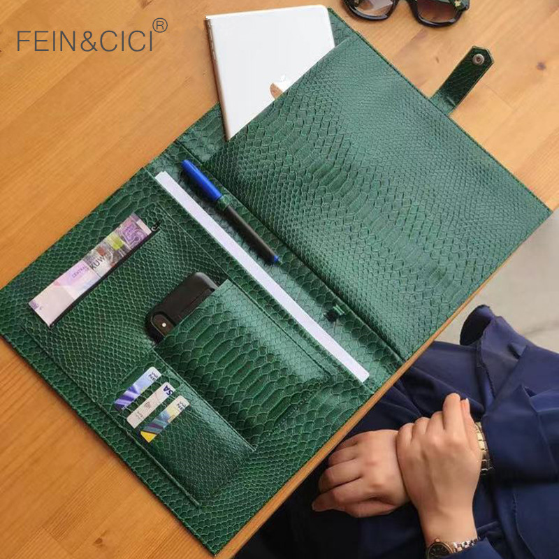 Women Fashion Folders File Laptop Briefcase Bag Embrossed Python Leather Clutch Pouch Handbag For Macbook Air Pro 13 Inch Ipad
