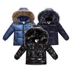 Модная зимняя куртка-пуховик для мальчиков, От 2 до 8 лет Детская одежда утепленная верхняя одежда и пальто с натуральным мехом, Детская парк...