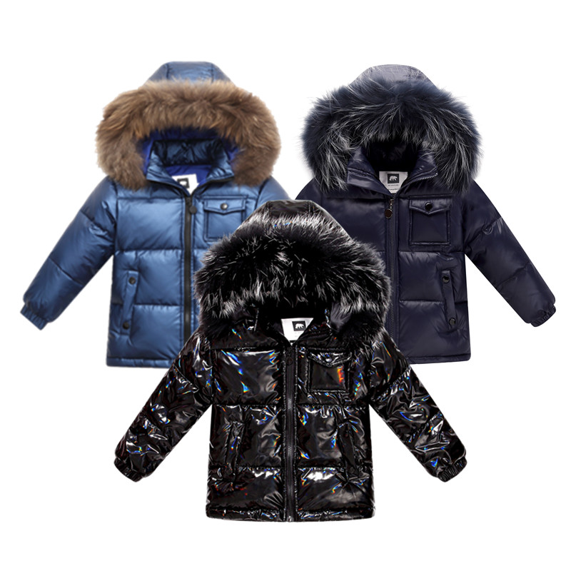 Fashion Winter Down Jacket For Boys 2-8 Years Children's Clothing Thicken Outerwear & Coats With Nature Fur Hooded Parka Kids