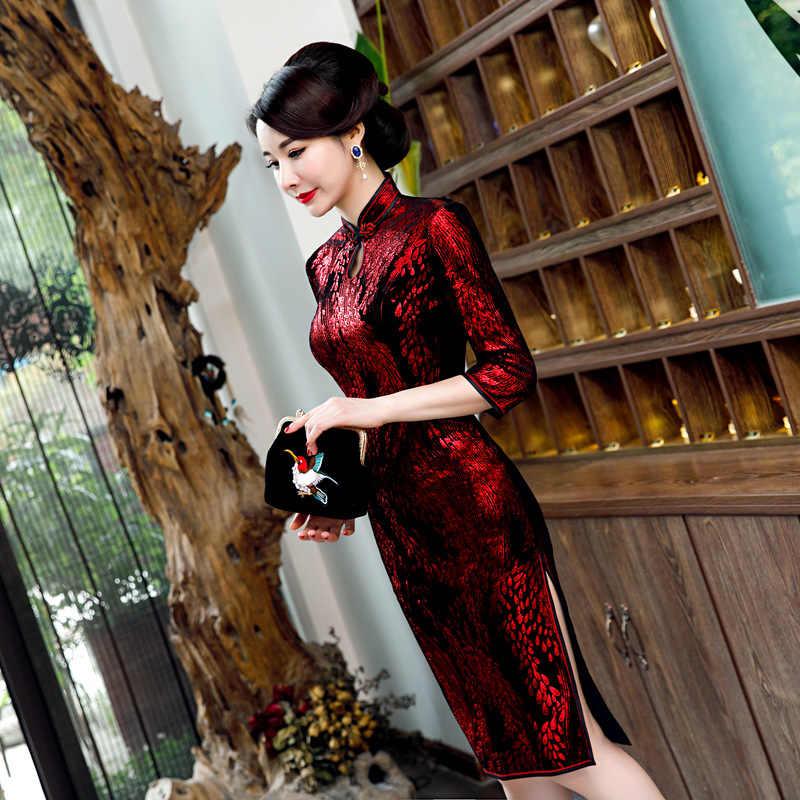 Size Lớn 6XL Nữ Velour In Hoa Quan Cổ Sườn Xám Trung Quốc Truyền Thống Nửa Nữ Tay Ngắn Qipao Trang Phục Dạ hội