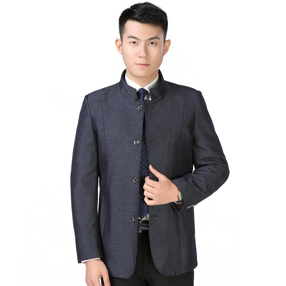 Men Chinese Tunic Suits Mandarin Collar Single Breasted Sun Yat Sen Mao Suit Blazers Male Elegant Red Grey Blue Zhongshan Coat