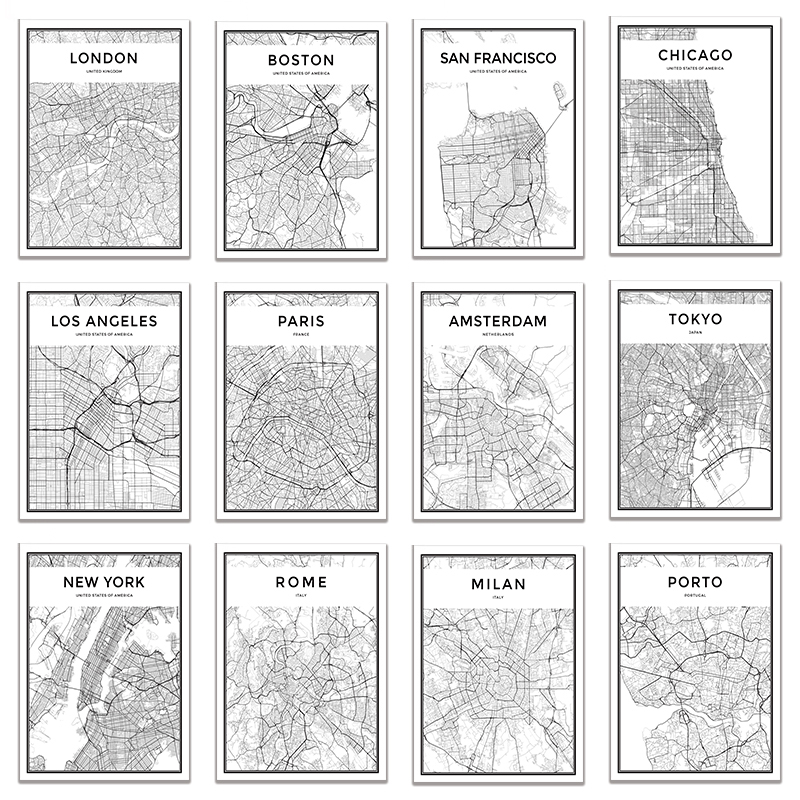 Black and White World City Map New York Tokyo Paris Wall Art Canvas Poster Prints Nordic Style Paintings Picture for Living Room