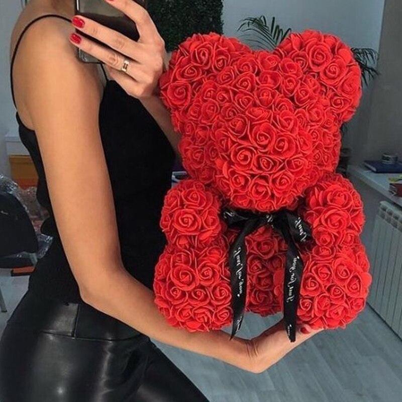 2019 offre spéciale 25cm 40cm savon mousse ours de Roses ours en peluche Rose fleur artificielle nouvel an cadeaux pour les femmes saint valentin cadeau