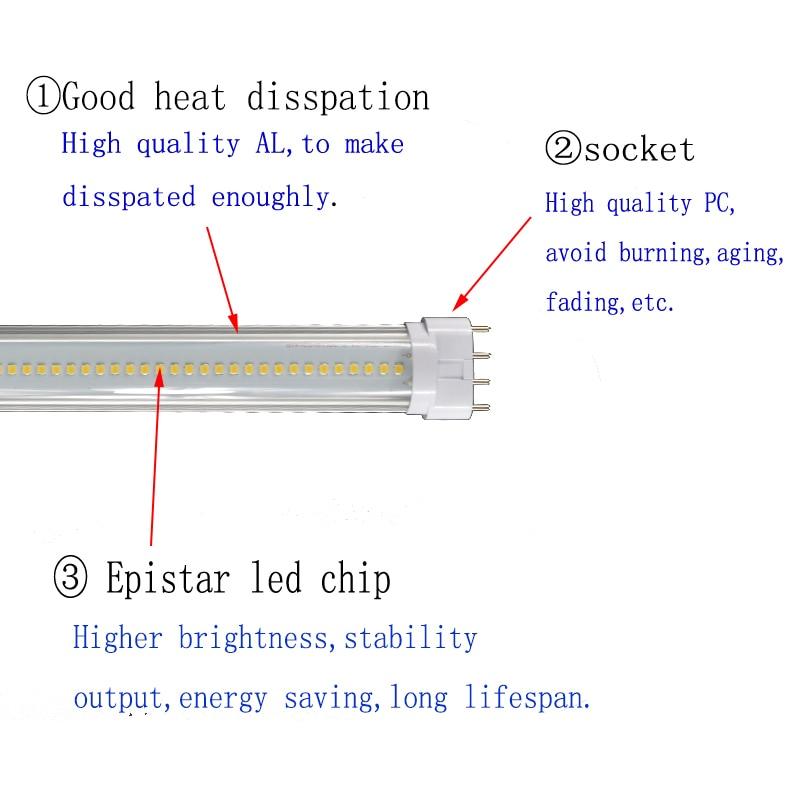 Купить с кэшбэком 4 pin led 2g11 Plug Light CFL replacement 2G11 LED tube lightt 9w12w14w15w18w pll lamp PL bar Epistar SMD LED tube