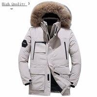 Warm Men's Down Jacket Brand Clothing 2020 Streetwear Thick Duck Down Coat Large Fur Hooded Women Winter Coat Hiver W1651