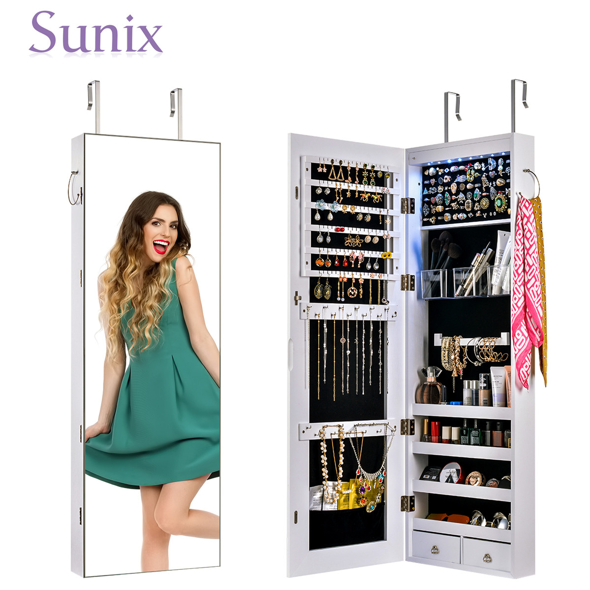 Multifunctional LED Jewelry Mirror Cabinet Wall Door Mounted Jewelry Cabinet Lockable Armoire Organizer Dresser Mirror with LED 1