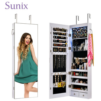 Multifunctional LED Vanity Jewelry Mirror Cabinet Wall Door Mounted Jewelry Cabinet Lockable Armoire Organizer with LED Light goplus jewelry armoire cabinet box storage chest stand necklaces organizer wood nightstand with 5 drawers and top mirror hb82378