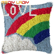 Latch Hook Cushion Kits Love Rainbow Pre-Printed Canvas Acrylic Yarn Crochet Pillow Case Set Sofa Cushion Cover Bed Pillow Craft(China)