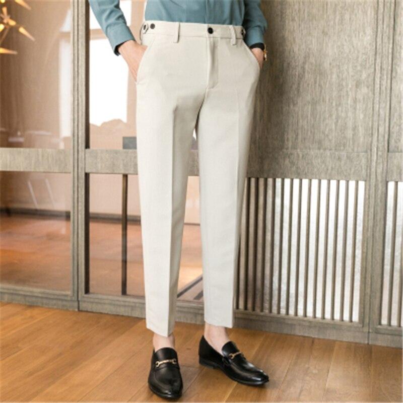 Dress Pants Men Social Slim Fit Office Trousers For Men Perfume Masculino Pantalon Costume Homme Ankle Length Black 2020 Spring