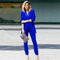 Casual suits Royal blue 2 piece set women business suit slim fit ladies office uniform elegant pants suit female trouser suits