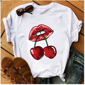 AOWOF Sexy Red Lips Cherry Fruit T-shirt Woman Seductive Lipstick T-shirt Fashion Clothing Harajuku Top Korean Style Female