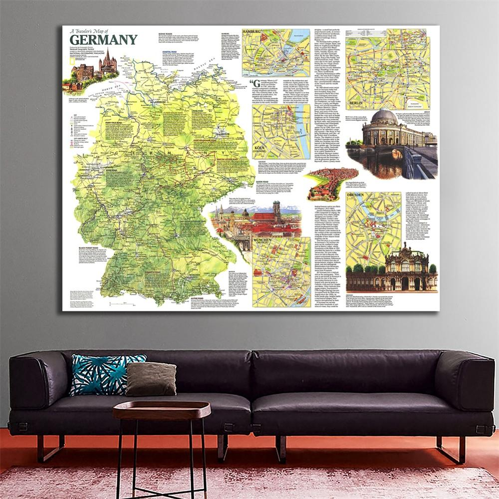 60x90cm Fine Canvas Spray Painting Map Unframed Wall Map For Bedroom Wall Crafts Home Decoration