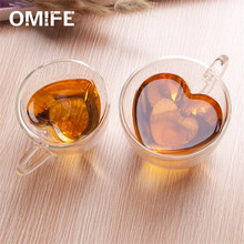 Omife Cute Double Wall Glass Coffe Cup Coffee Mug Beer Tea Cafe Glass Creative Mugs Milk Juice Cups Christmas Lover Gifts Office(China)